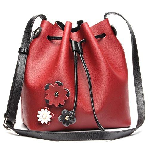 Shengjuanfeng New Womens Shoulder Bag Leather Color Bucket Bag Casual Fashion Leather Shopping Bag Shoulder Bag Color : Red, Size : M