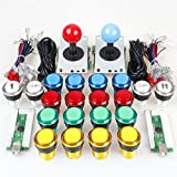 EG Starts 2 Player Classic Arcade DIY Kit USB Encoder to PC Joystick Games + 2x 5Pin Rocker + 16x 30mm 5V LED Lit Push Button 1 + 2 Players Coin Buttons For Raspberry Pi 1 2 3 3B Mame Fighting Stick