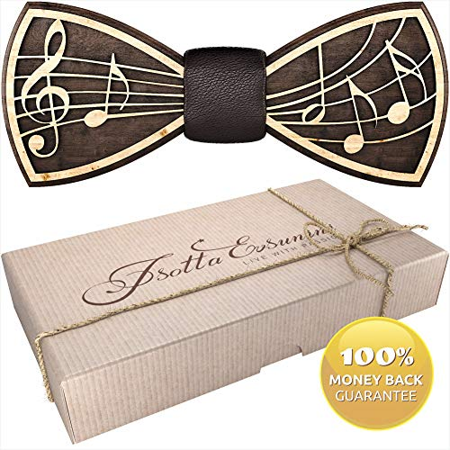 Wooden Bow Tie for Men, Women, Boys and Girls - Pre-Tied Bow Ties Formal Solid Tuxedo for Adults & Kids Adjustable Length
