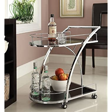 Chrome Metal Bar Tea Serving Cart With Tempered Glass