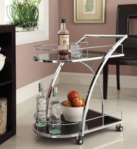 Chrome Metal Bar Wine Tea Serving Cart With Tempered Glass (Bar Carr)