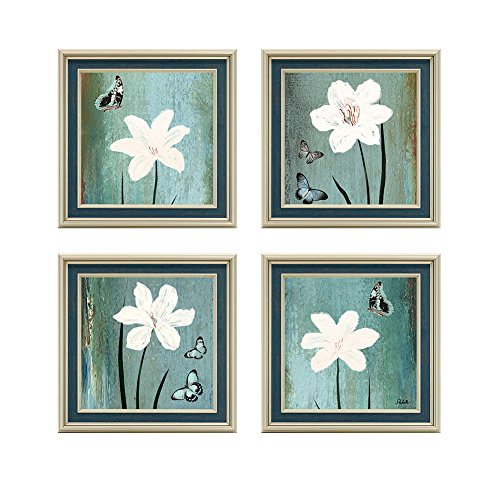 Dzhan Lily Wall Decor Wall Art Canvas Prints Oil Paintings Stretched Set of 4 Pieces Blue Landscape Flower Modern Abstract Ready to Hang for Living Room Bedroom Office(16x 16 Inch) (4 Decor Wall Of Set)
