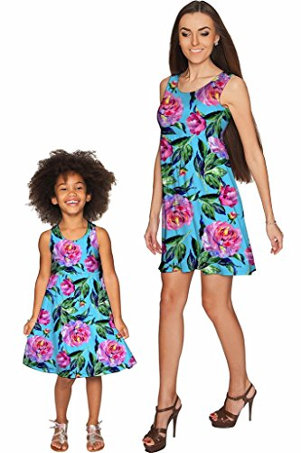 PINEAPPLE CLOTHING Peony Splash Sanibel Empire Waist Floral Mother Daughter Dress 2 X-Large by PineappleClothing