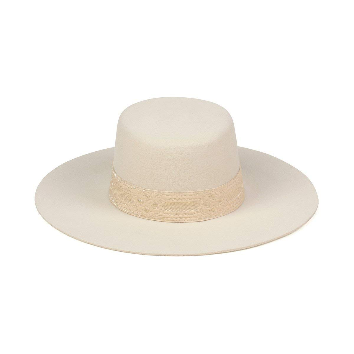 Lack of Color Women's The Sierra Gold Wide-Brimmed Wool Boater Hat (Cream, Small (55cm)) by Lack of Color