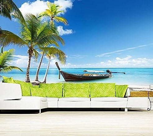 Malilove Custom 3D Wandbild Boote Himmel Thailand Palma Natur