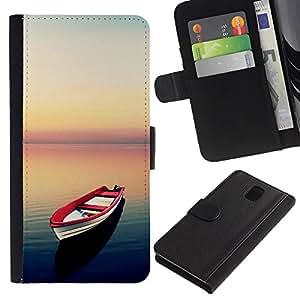 iKiki Tech / Cartera Funda Carcasa - Sea Sunset Calm Red Hope Freedom - Samsung Galaxy Note 3 N9000 N9002 N9005