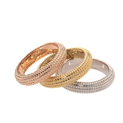 - Avery and May Matching Tricolor Stackable Fashion Thin Band Rings for Women, Gold, Silver, Rose Gold, Size 7