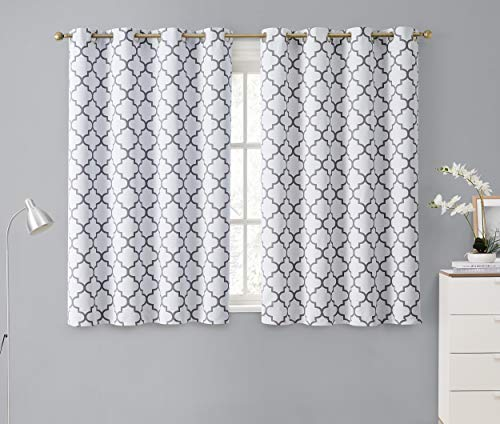 HLC.ME Lattice Print Decorative Blackout Thermal Insulated Privacy Room Darkening Grommet Window Drapes Curtain Panels for Bedroom - Platinum White & Grey - 52