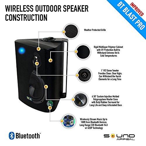 Bluetooth 6.50'' Indoor/Outdoor Weatherproof Patio Speakers, Wireless Outdoor Speakers (Black- pair),by Sound Appeal by Sound Appeal (Image #8)