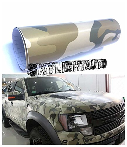 skylightauto 10ft X 5ft Deset Camouflage Vinyl Sheets Vinyl Film Wrap Sheet with Air Release Pockets Bubble -