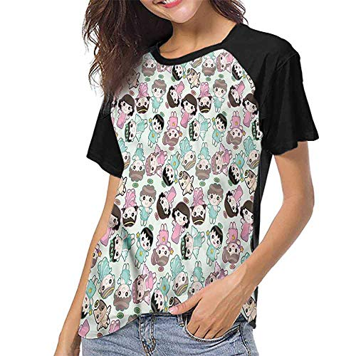 Women Print Tees,Angel,Kids and Cats with Wings S-XXL O Neck T Shirt Female Tee