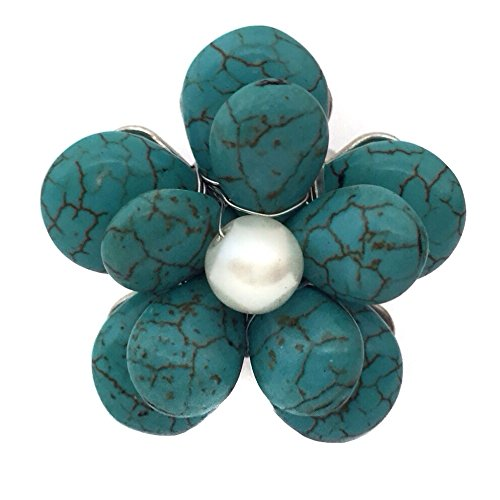 Imitation Turquoise Flower Faux Pearl Fun Cocktail Stretch Ring