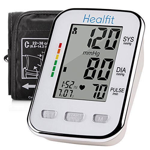 Healfit Digital Blood Pressure Monitor with Upper Arm Cuff, Backlit LCD Screen, coming with Device Case