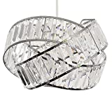 Modern Polished Chrome & Clear Acrylic Jewel Intertwined Rings Design Ceiling Pendant Light Shade