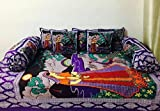 STOP N SHOP Cotton Jaipuri Divan Sets of 1 Bed Sheet(70 x 100 Inches) ,2 Bolster Cover (Size_16 x 32 Inches) and 5 Cushion Cover (Size_16 x 16 Inches)