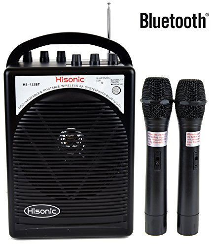 HISONIC HS122BT-HH Portable PA System with Dual Channel Wireless Microphones (Two handheld), Lithium Rechargeable Battery, Bluetooth Streaming Music From your Cell Phones,iPads, Android Pads and Computer, with Car Cable and Carry Bag, Black