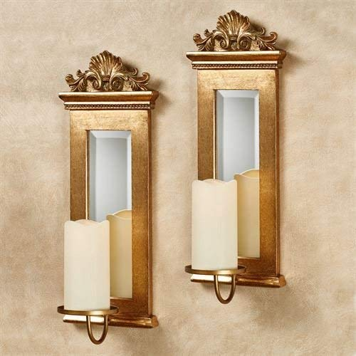 Acanthus Mirrored Wall Sconces Gold Set of Two ()