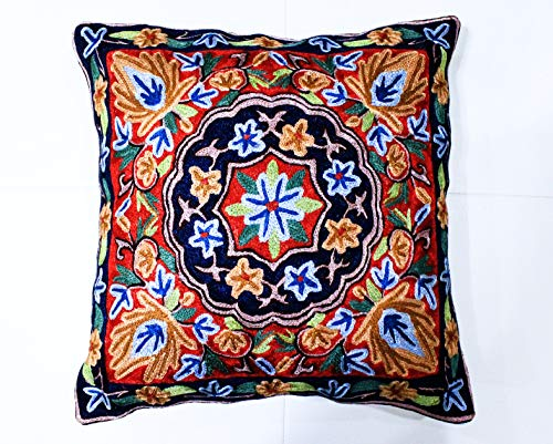 ZARMIN BEDDING ESSENTIALS Pillow Cover Elite Limited Collection of Kashmiri Hand Crafted Square Decorative 16 x 16 inch Cushion Covers for Indoor use on Bed or Sofa (Art-5 SHESHNAG). Set of Two.