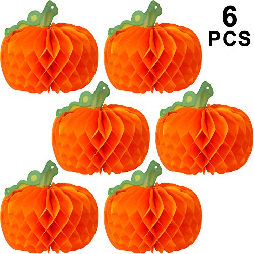 Easy Green Halloween Punch (WILLBOND 6 Pieces Halloween Decor 3D Paper Pumpkin Honeycomb Decorations with Punch for Halloween Thanksgiving Party Table Centerpieces Decoration)