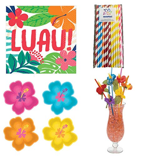 Luau Party Supplies Pack: Includes Hibiscus Shaped Plates, Luau Napkins, Hibiscus Flower Straws and ElevenPlus2 Straws for 32 ()