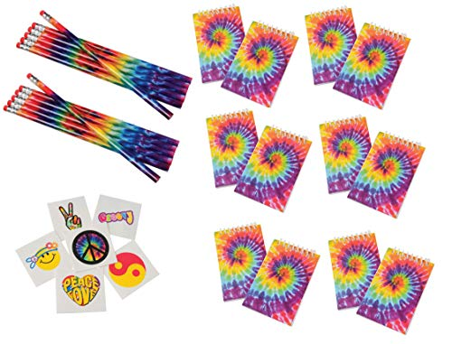 168 Piece Retro, Tie Dye, Peace, Love, 60's, Hippie Party Favors ~ 12 Tie-Dye Pencils, 12 Tie-Dye Notebooks & 144 Retro Tattoos ~ Teacher Student Classroom Giveaways