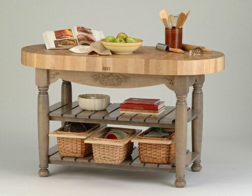 Harvest Table Kitchen Island (Useful Gray Stain) (36