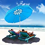 MOVTOTOP 6.5ft Beach Umbrella with Tilt Aluminum Pole and UPF 100+, Flower Vents Design and Portable Sun Shelter for Sand and Outdoor Activities, Carry Bag and Sand Anchor Included