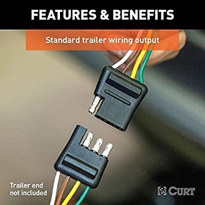 CURT 56130 Non-Powered 3-to-2-Wire Splice-in Trailer Tail Light Converter with 4-Pin Wiring Harness: Automotive