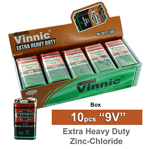 10pc VINNIC ER22MSG 9V Extra Heavy Duty Batteries Replace Ma