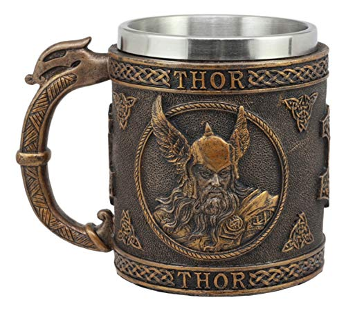 (Ebros Gift Norse Mythology Viking God Of Thunder Thor Coffee Mug Resin Drink Cup Tankard Beer Stein With Stainless Steel Liner For Kitchen Home Decor Medieval Renaissance Party Hosting Accessory )