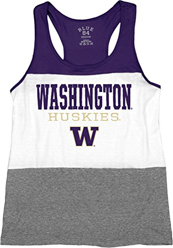 NCAA Washington Huskies Tri-Blend Panel Tank Top, Purple, Large