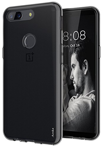 OnePlus 5T Case, Aeska Ultra [Slim Thin] Flexible TPU Gel Rubber Soft Skin Silicone Protective Case Cover For OnePlus 5T (Smoke Black)