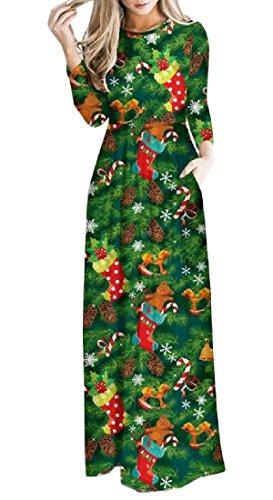 Confortables Femmes Automne Hiver Robe Longue De Vacances Floral De Noël Comme Image
