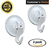 #5: Super Powerful Vacuum Suction Hooks – Damage Free (No Drilling, No Screws, No Holes, No Glue) – Perfect for Hanging Your Bags, Cloths, Towels, Kitchen Tools, Bathroom Accessories (2-PACK)