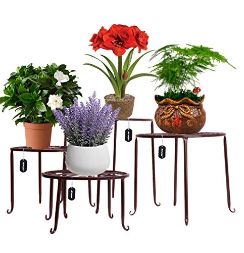 AISHN Metal Plant Stand 4 in 1 Potted Irons Planter Supports Floor Flower Pot Round Rack Display with Scroll Pattern Perfect for Home, Garden, Patio (Stand Plant Chevron)