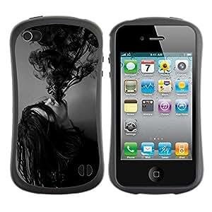 LASTONE PHONE CASE / Suave Silicona Caso Carcasa de Caucho Funda para Apple Iphone 4 / 4S / Ink Possessed Girl Demon Black White