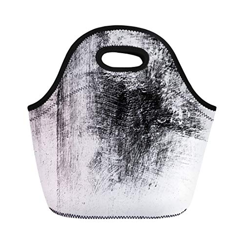 Semtomn Neoprene Lunch Tote Bag Blue Abstract Monochrome Includes Effect the Black and White Reusable Cooler Bags Insulated Thermal Picnic Handbag for Travel,School,Outdoors,Work