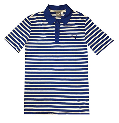 - PUMA Men dryCELL ESS Striped Jersey Golf Polo Shirt (M, White/surf the web)