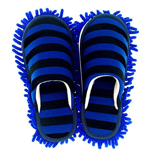 Selric Cozy Washable Dust Mop Slippers Stripe Closed Toe Dark Blue, Multi-sizes Multi-Colors Available, Chenille Fibre Detachable Mop Soles, Indoor House Slippers 9 7/9 Inches Size:5.5-8.5