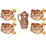 Prisha India Craft Set of 4 Indian Dinnerware Pure Copper Thali Set Traditional Dinner Set of Thali Plate Dia 12'', Bowl, Spoon, Fork, Glass and JUG - Christmas Gift