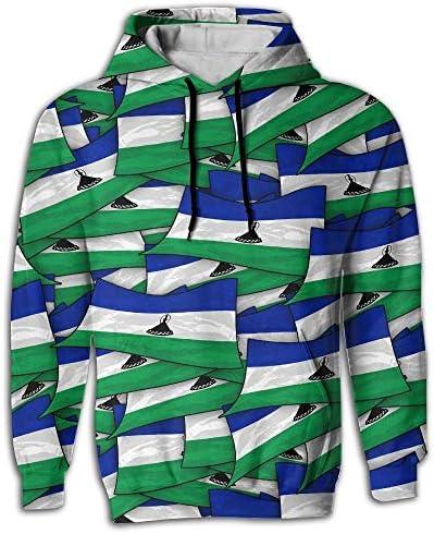 KLING Bandera de Lesotho Wave Collage Sudadera con Capucha Sudadera con Capucha Sudadera con Estampado 3D con Grandes Bolsillos Cordón para Hombres: Amazon.es: Ropa y accesorios