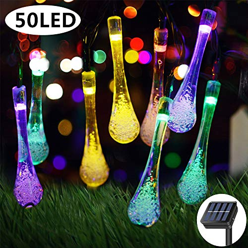 Solar String Lights 8 Lighting Modes 29 Feet 50 LED Water Drop Decorative Lights String Waterproof Outdoor Garden Fairy Lights for Garden, Patio, Yard, Home, Parties, Multi Color
