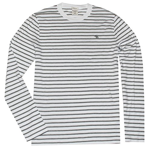 Abercrombie & Fitch Men Muscle Fit Long Sleeve Striped Logo Tee (M, White/grey) (Abercrombie Muscle)