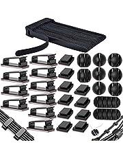MiuCo 50 stuks kabelbinders klittenband / kabel klittenband + 40 stuks kabelklemmen / kabelclips + 10 stuks kabelhouders zelfklevende kabelklemmen, kabelmanagement-organizerkit voor bureau (100 stuks)