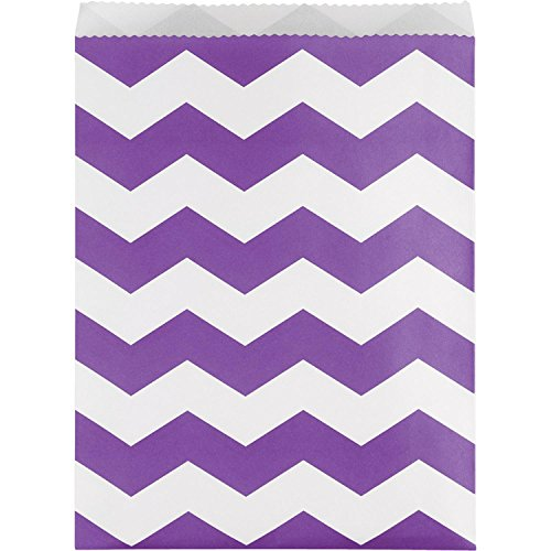 Club Pack of 120 Purple and White Chevron Striped Large Decorative Paper Party Treat Bags 11