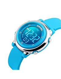 Kids Digital Watch Boy Girls Outdoor Sports LED Alarm Stopwatch Children's Dress Wristwatches(Blue)