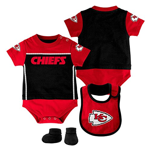 Outerstuff NFL Kansas City Chiefs Creeper/Bib and Bootie Set, Youth 9 Months, Black
