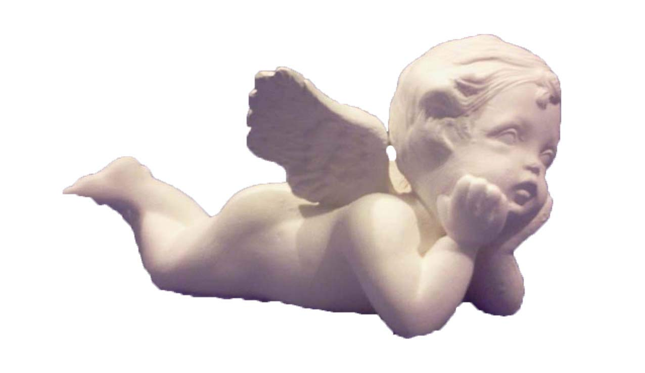 Cherub laying on Tummy 7'' ceramic bisque ready to paint
