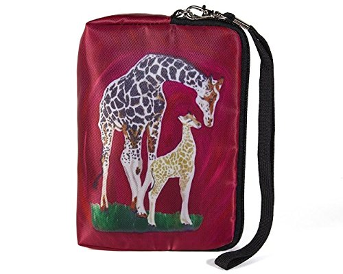 Giraffe Zip-top Wristlet with Detachable Strap and Charm - From My Painting, Full Circle
