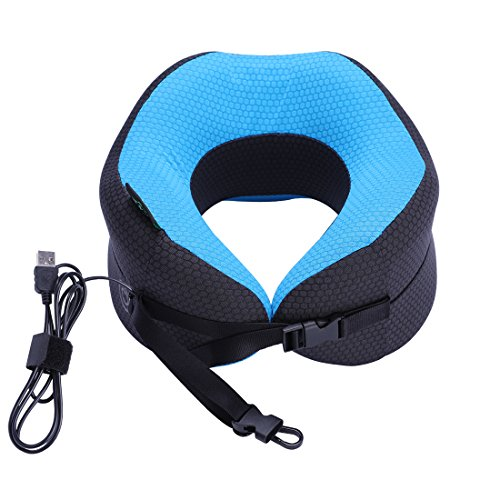 KINGLETING Massaging Neck Pillow with Memory Foam,Two Power Modes and Five Functional Modes (gray&blue) -